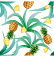 pineapple and leaves seamless pattern watercolor vector image vector image