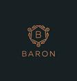 premium linear shield monogram letter b logotype vector image