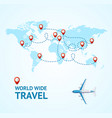 realistic 3d detailed world wide travel concept vector image vector image