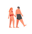 romantic couple holding hands flat style vector image