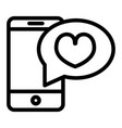 romantic message line icon smartphone with heart vector image vector image