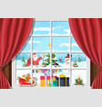 santa and snowman looks in living room window vector image vector image