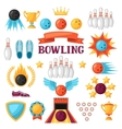 Set of bowling game items Objects for decoration vector image vector image