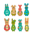 Set of cute Easter bunny vector image vector image