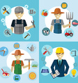 Set of workers Mechanic Gardener Construction vector image