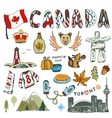 Sketch hand drawn collection of Canada symbols vector image vector image
