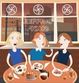 Three friends in the coffee shop vector image vector image