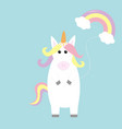 unicorn holding rainbow cloud baloon kawaii face vector image vector image