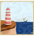 Vintage postcard with a lighthouse and a small boa vector image vector image