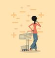woman shopping retro vector image vector image