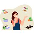 women choose food to cook flat vector image vector image