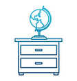 world globe on drawer vector image vector image
