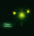 yellow green golden fireworks burst greeting vector image