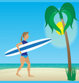 flat girl with longboard on beach vector image