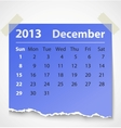 2013 calendar december colorful torn paper vector image vector image