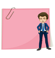 A handsome gentleman standing in front of the pink vector image vector image