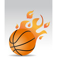 basketball ball fire vector image vector image