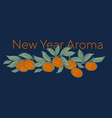 bright xmas mandarin on night blue background vector image