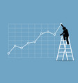 businessman climbing up on a ladder to adjust an vector image