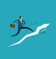 businessman running up stairway success career vector image vector image