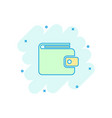 cartoon wallet icon in comic style money purse vector image