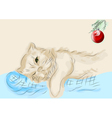 cat and christmas ball vector image vector image