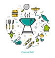 Charcoal grill - round concept vector image