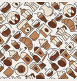 coffee seamless pattern with thin line icons vector image vector image