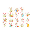 cute cartoon bunnies holding colored eggs set vector image vector image