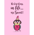 Cute colored doodle owl with cake on the head vector image vector image