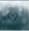 draw heart on rain water drops bokeh vector image