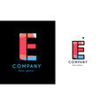 e blue red letter alphabet logo icon design vector image