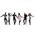 elegant silhouettes people wearing clothes of vector image vector image