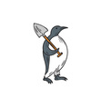 Emperor Penguin Holding Shovel Drawing vector image vector image