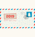 envelope with words happy new year and snowflakes vector image