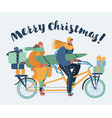family couple ride on tandem bicycle vector image vector image