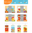 find right part ut and glue game for vector image vector image