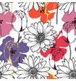 flowers seamless pattern tulip and daisy floral vector image vector image