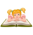 Girl reading book Child sits in front of an open vector image vector image