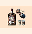 glass bottle liquor hand with a shot toast vector image vector image