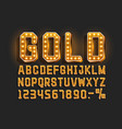 golden font alphabet retro number sign vector image