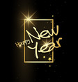 golden happy new year with 3d frame vector image vector image