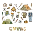 Hand drawn camping elements Summer vacation icons vector image