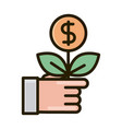 hand with plant money business financial investing vector image