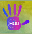 happy holi festival the festival of colors green vector image vector image