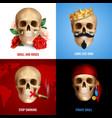 human skull 2x2 design concept vector image