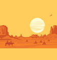 landscape with silhouettes indians on horseback vector image