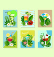 paper cut cocktail summer drink card set vector image vector image