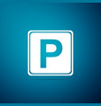 parking sign icon isolated on blue background vector image