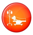 Patient in bed on a drip icon flat style vector image vector image